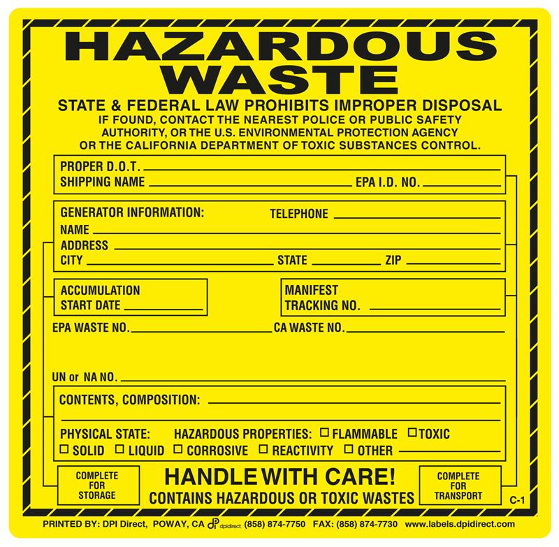 C-1 Hazardous Waste Labels