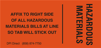 BILL TAB - (500 /Roll) Hazardous Materials