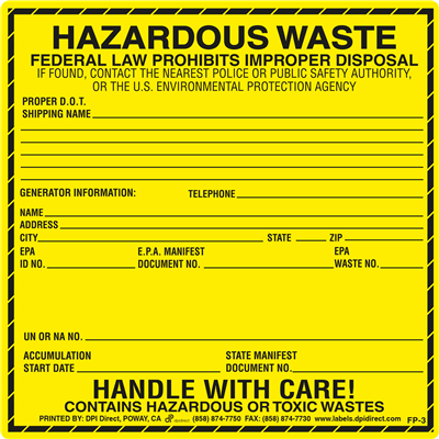 FP-3 - 6x6 Hazardous Waste
