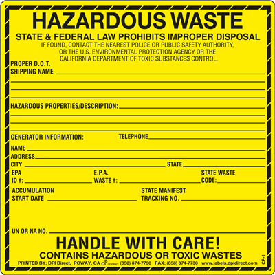 CP-1 - 6x6  Hazardous Waste