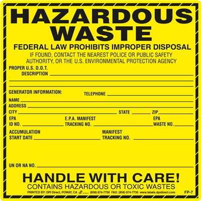 FP-7 - 6x6 Hazardous Waste