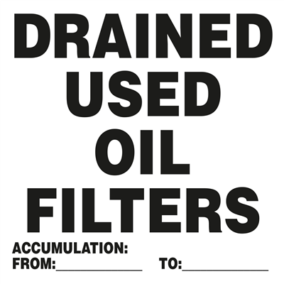 Drained Used Oil Filter - 6x6 - (500 /Roll)