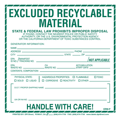 Excluded Recyclable Material (Other States) Custom