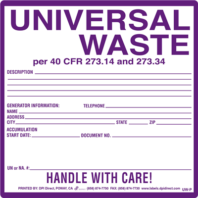 Universal Waste Pinfeed - 6x6