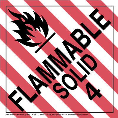 Flammable Solid 4 Worded - (25 /Pack)