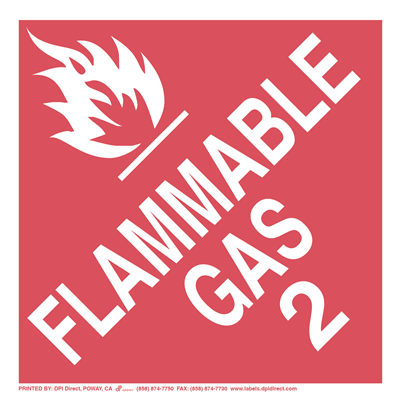 Flammable Gas 2 Worded - (25 /Pack)