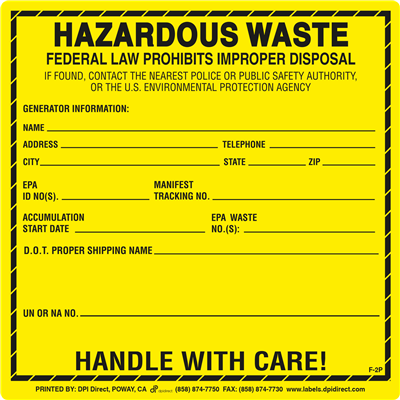 F-2P - 6x6 Hazardous Waste