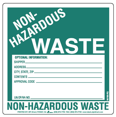 Non-Hazardous Waste (Paper) - 6x6