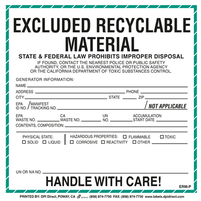 Excluded Recyclable Material (California) Custom