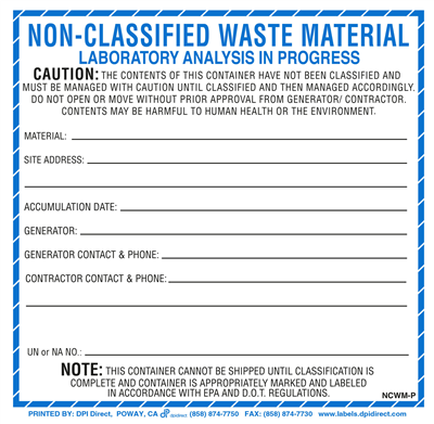 Non-Classified Waste Material Custom